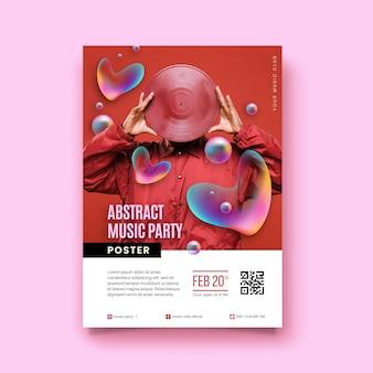 Manifesto astratto di musica con foto