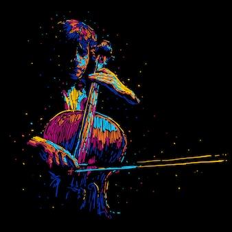 Manifesto astratto di musica dell'illustrazione di vettore del giocatore del violoncello