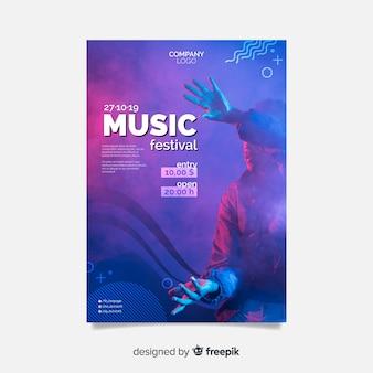 Manifesto astratto festival musicale con foto
