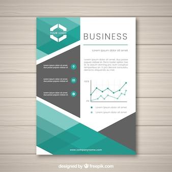 Manifesto aziendale con forme in toni verdi