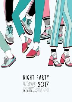 Manifesto colorato disegnato a mano di festa notturna con gambe danzanti