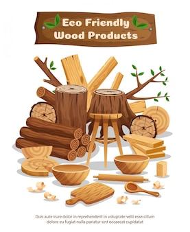 Manifesto composizione pubblicitaria materiale e prodotti in legno industria eco con tronchi di alberi tavole ciotole ciotole