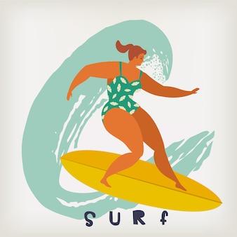 Manifesto con il surfista sulla tavola da surf che cattura le onde nell'oceano.