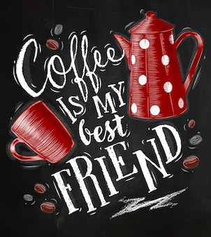 Manifesto con la tazza e la caffettiera di caffè che segnano il suo tempo del caffè che attinge la lavagna b