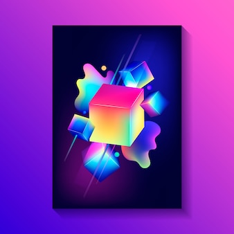 Manifesto decorativo creativo con composizione di cubi 3d e altre forme.