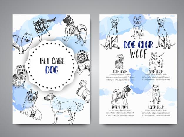 Manifesto del club del cane con l'opuscolo delle razze di cani disegnati a mano
