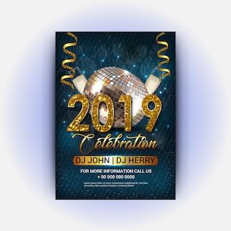 Manifesto del club del dj di buon anno 2019