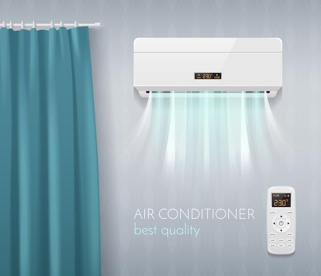 Manifesto del controllo del clima con l'illustrazione realistica di simboli di tecnologia del condizionamento d'aria