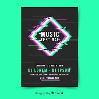 Manifesto del festival di musica con diamante sfocato