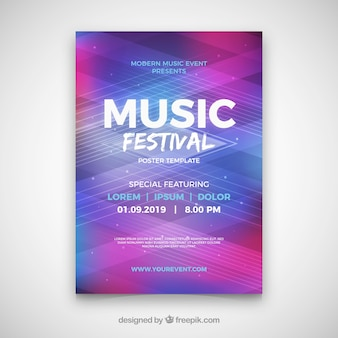 Manifesto del festival di musica con stile astratto