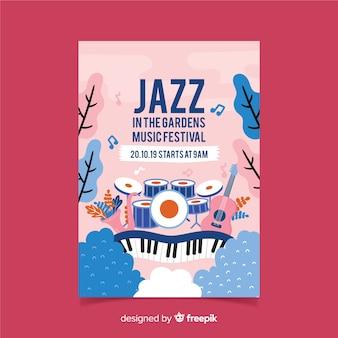 Manifesto del festival di musica da giardino disegnato a mano