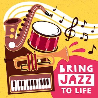 Manifesto del festival di musica jazz con strumenti musicali.