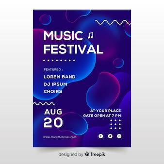 Manifesto del festival musicale con effetto liquido