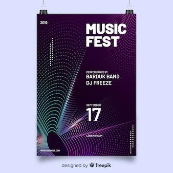 Manifesto del festival musicale con onde astratte colorate