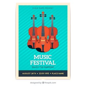 Manifesto del festival musicale con strumenti in stile piano