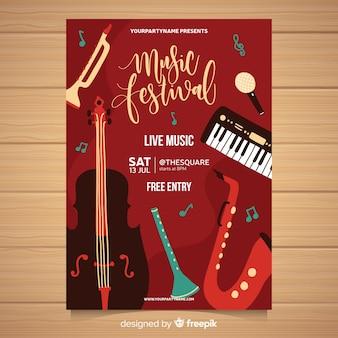 Manifesto del festival musicale disegnato a mano