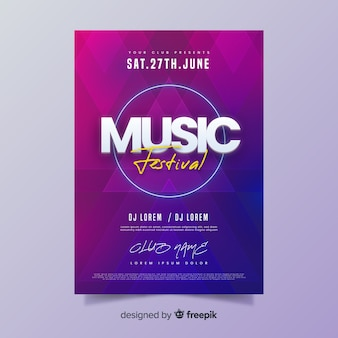 Manifesto del festival musicale estivo gradiente