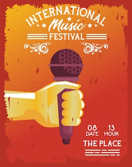 Manifesto del festival musicale internazionale con microfono a sollevamento manuale su sfondo arancione