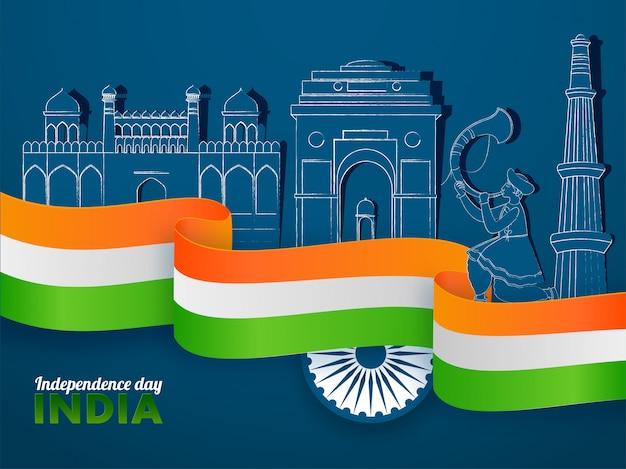 Manifesto del giorno dell'indipendenza dell'india con nastro tricolore, ruota di ashoka, monumenti famosi tagliati in carta e uomo giocatore tutari su sfondo blu.