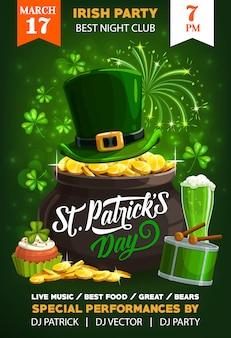 Manifesto del giorno di san patrizio di festa irlandese