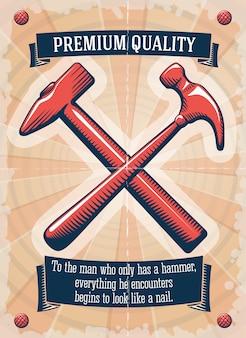 Manifesto del negozio di utensili di due martelli retrò