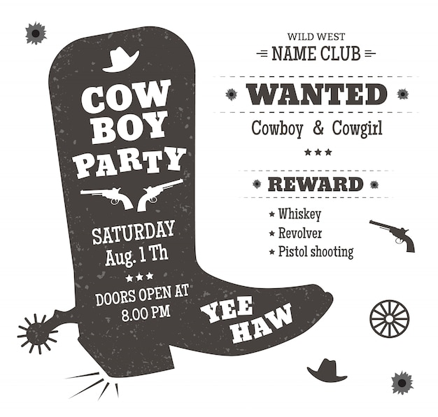 Manifesto del partito del cowboy o invito in stile occidentale. sagoma di stivali da cowboy con testo.