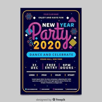 Manifesto del partito del nuovo anno 2020 in design piatto