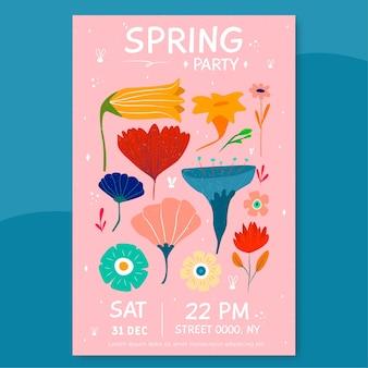 Manifesto del partito della primavera con i fiori isolati su fondo rosa