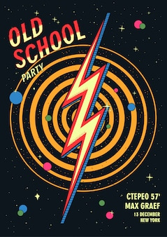 Manifesto del partito di ballo della vecchia scuola nel retro design. illustrazione vettoriale