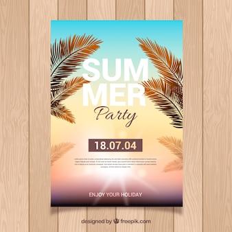Manifesto del partito di estate con il tramonto