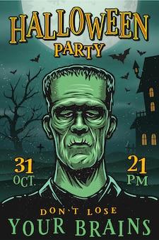 Manifesto del partito di halloween con mostro