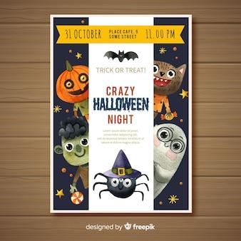 Manifesto del partito di halloween dell'acquerello bella