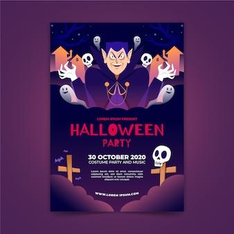 Manifesto del partito di halloween in design piatto