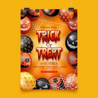 Manifesto del partito di halloween realizzato realistico