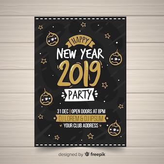 Manifesto del partito di nuovo anno disegnato a mano moderno