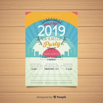 Manifesto del partito di nuovo anno skyline