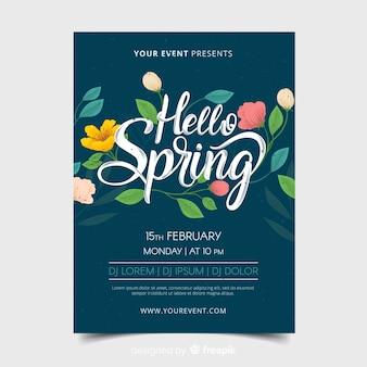 Manifesto del partito di primavera fiori disegnati a mano