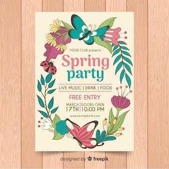 Manifesto del partito di primavera ghirlanda floreale