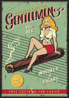 Manifesto del partito di signori vintage con pin up girl