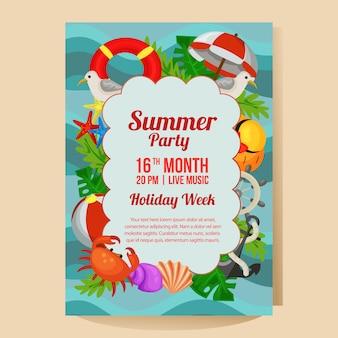 Manifesto del partito di vacanza estiva con l'illustrazione piana di vettore di stile di tema marino