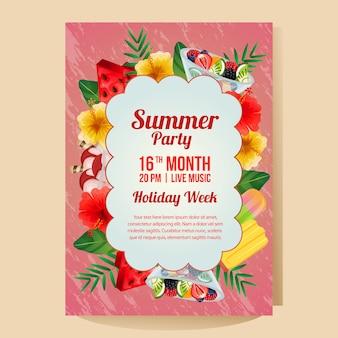 Manifesto del partito di vacanza estiva con l'illustrazione variopinta di vettore del rinfresco dell'oggetto