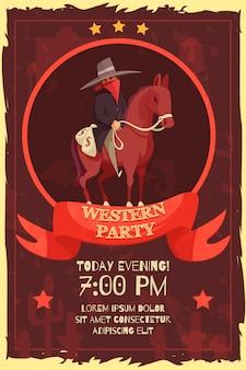 Manifesto del partito di wester con cowboy