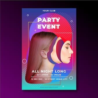Manifesto del partito evento astratto con donna curata