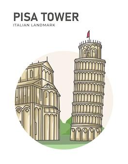 Manifesto del punto di riferimento italiano della torre di pisa