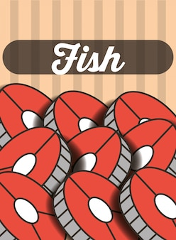 Manifesto del ristorante menu a fette di pesce