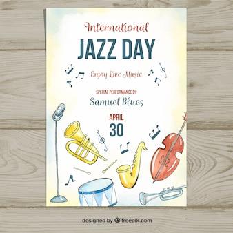 Manifesto dell'acquerello per la giornata internazionale del jazz