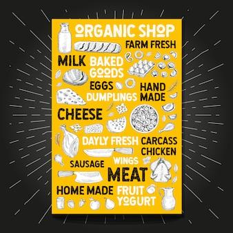 Manifesto dell'alimento che disegna l'azienda agricola organica del mercato fresca. schizzo disegnato a mano