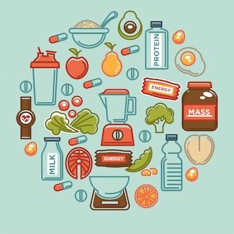 Manifesto dell'alimento di forma fisica delle icone di nutrizione dell'alimento di dieta sana di sport.