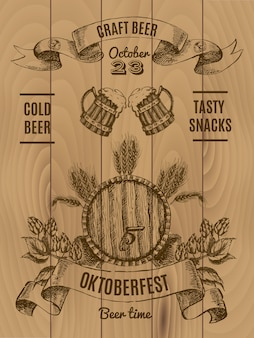 Manifesto dell'annata di octoberfest con barile di birra e mug hop e orzo su assi di legno