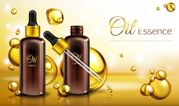 Manifesto dell'annuncio realistico di vettore 3d, insegna di promo con essenza dell'olio in bottiglie di vetro marroni con una pipetta.